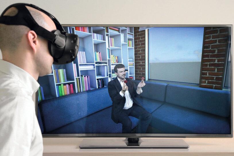 (© Foto Fraunhofer HHI) Mit einer VR-Brille mitten im Geschehen sein: Ein neues Kamerasystem stellt Menschen natürlich und realitätsnah virtuell dar.